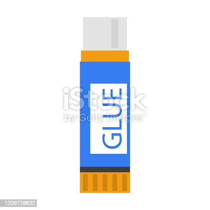 istock Blue glue stick vector isolated. School stationery 1209728632