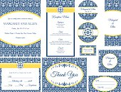 Blue & Gold Damask Wedding Invitation set of ten elements.  Each element has blue damask pattern with white frames with text information.  Set includes the invitation, RSVP card, thank you note, place cards, menu, magnets, labels and stamps.