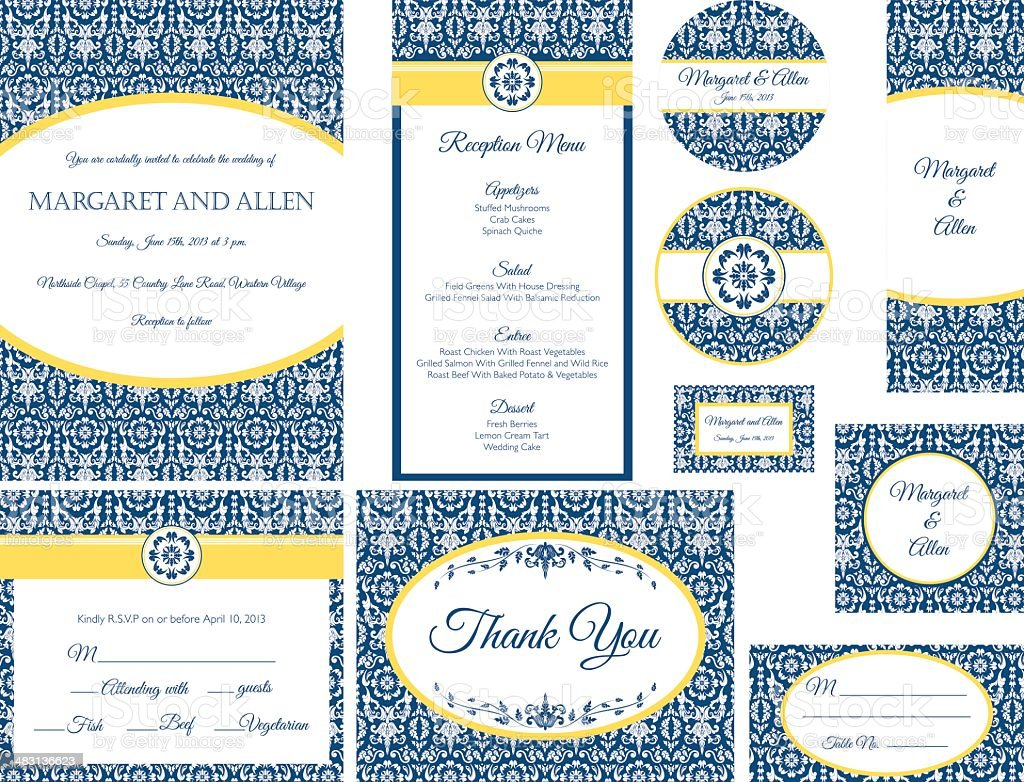 Blue & Gold Damask Wedding Invitation vector art illustration