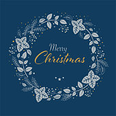Hand-drawn christmas card with blue golden wreath and Merry Christmas text