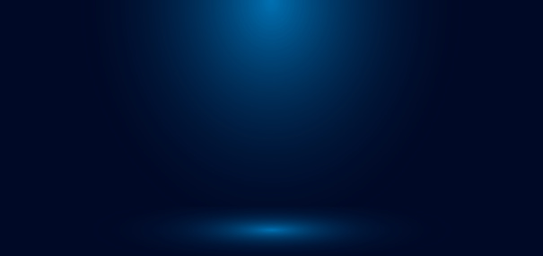 Blue gradient wall studio empty room abstract background with lighting and space for your text.