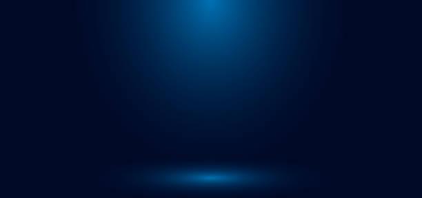 illustrazioni stock, clip art, cartoni animati e icone di tendenza di sfondo astratto della stanza vuota dello studio a parete sfumato blu con illuminazione e spazio per il testo. - sfondi