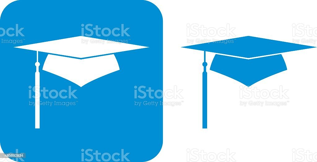 Blue Graduation Cap Icons vector art illustration