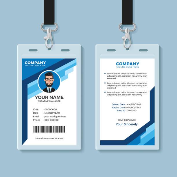 ilustraciones, imágenes clip art, dibujos animados e iconos de stock de plantilla de tarjeta de identificación de empleado gráfico azul - carne