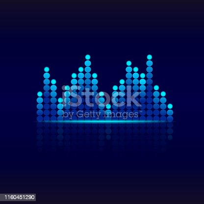 Blue graphic equalizer. Design sound wave equalizer.Music equalizer background for club, radio, concerts or the audio technology advertising background.