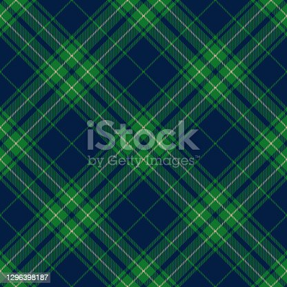 istock Blue Green Argyle Scottish Tartan Plaid Textile Pattern 1296398187
