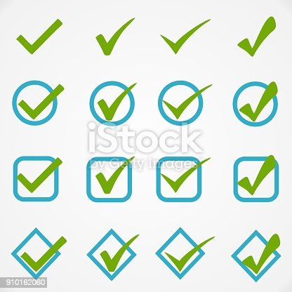 Blue green buttons on white background for web site or application