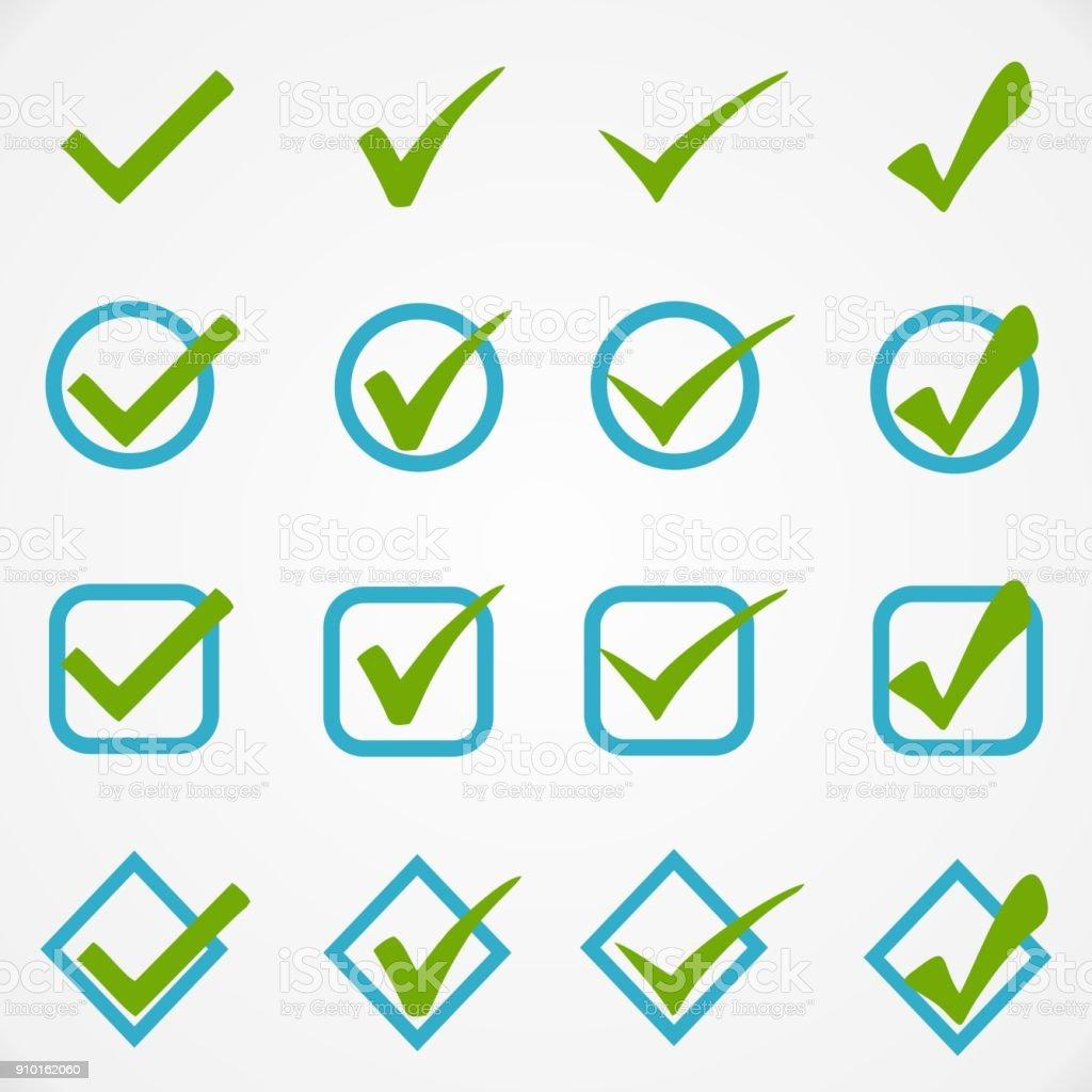 Blue green buttons on white background vector art illustration