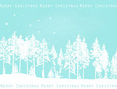 Teal christmas card with white silhouette pine trees