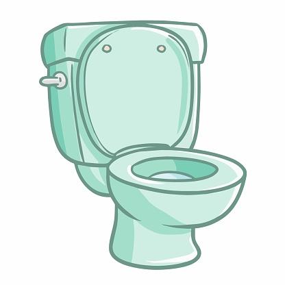 blue green clean toilet