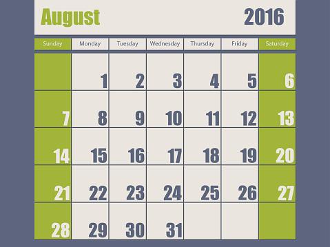 Blue green colored 2016 august calendar