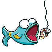 Funny and cute blue green fish want to eat bait - vector.