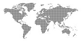World Map Dots Styled Contour - vector illustration