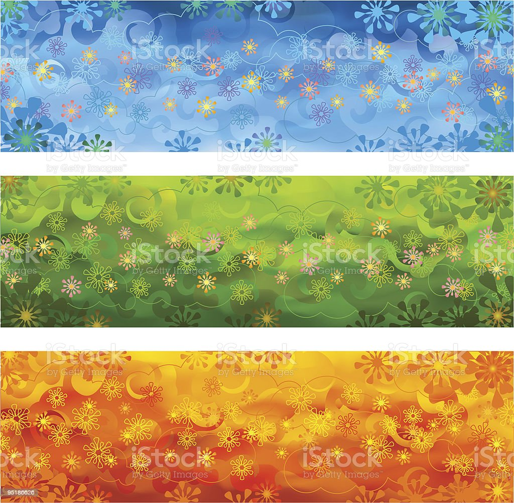 Blue, green, orange floral banners royalty-free stock vector art