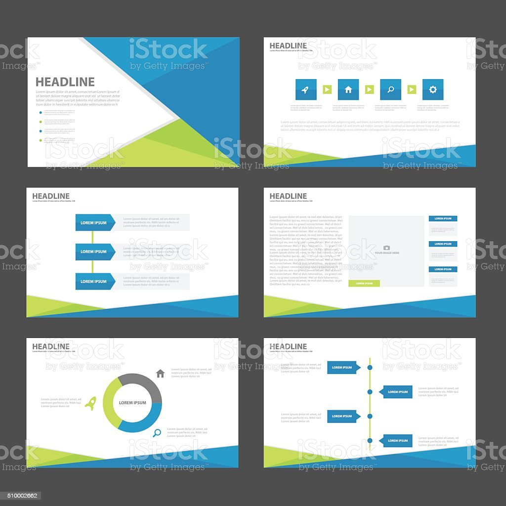 Blue Green presentation templates Infographic elements flat design set vector art illustration
