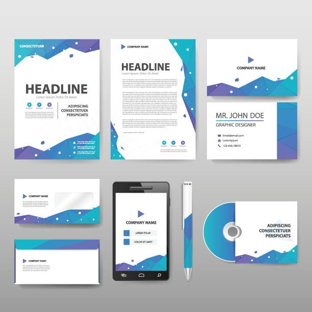 Blue green purple Polygonal staionery corporate identity set template Blue green purple Polygonal staionery corporate identity set template letterhead stock illustrations