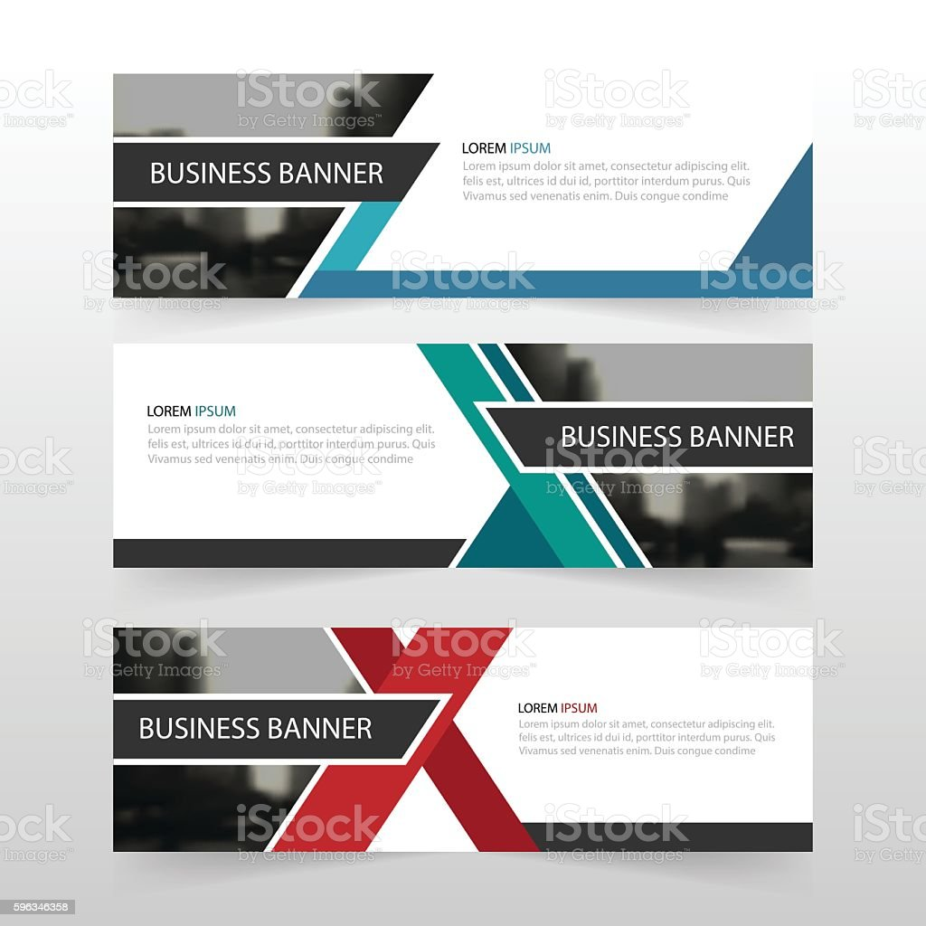 Blue green red abstract triangle corporate business banner template, horizontal Lizenzfreies blue green red abstract triangle corporate business banner template horizontal stock vektor art und mehr bilder von abstrakt
