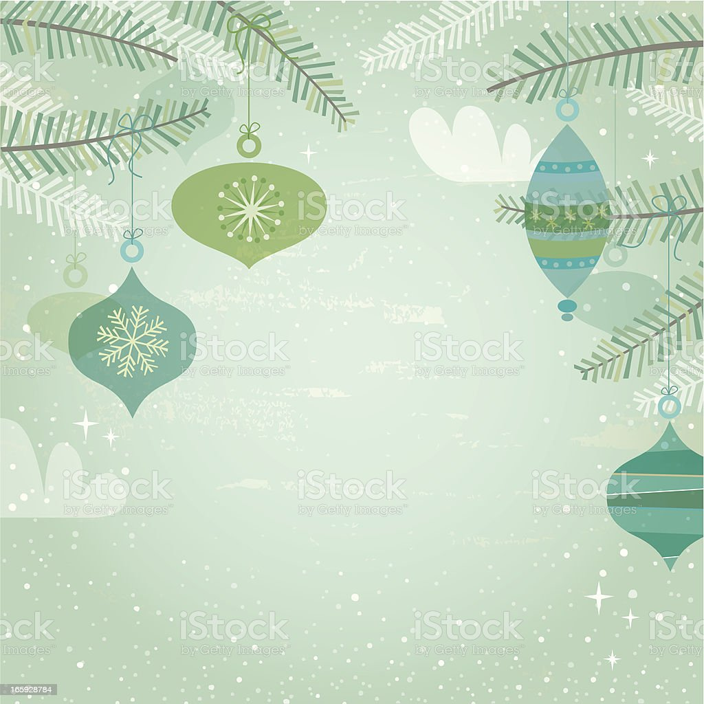 Blue & green retro decorations vector art illustration