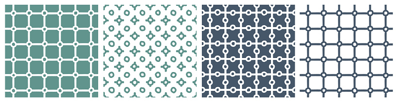 Blue green set of grid winter abstract seamless patterns. Vector illustrations on white background for book covers, wallpaper, apparel, home decor