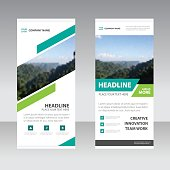 Blue Green square Business Roll Up Banner flat design template
