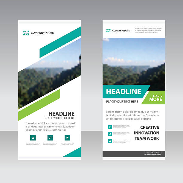 Blue Green square Business Roll Up Banner flat design template Blue Green Abstract square Business Roll Up Banner flat design template Geometric banner template Vector illustration set, abstract presentation template rolling stock illustrations