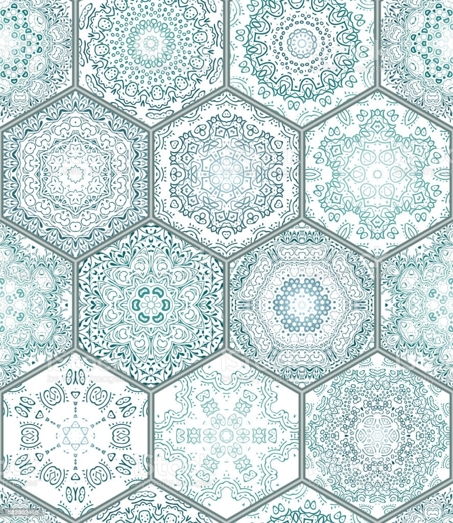 Blue green Tiles Floor Ornament Collection Seamless, vector art illustration