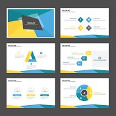 Blue Green yellow Infographic elements presentation template flat design