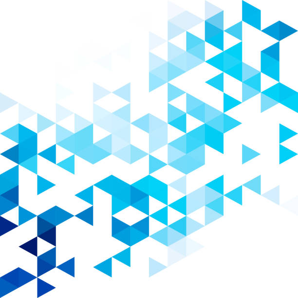 stockillustraties, clipart, cartoons en iconen met blauw raster mozaïek achtergrond. sjablonen voor creatief ontwerpen - driehoek