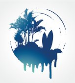 blue grunge surf circle with plams and table
