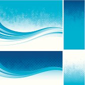 Blue halftone backgrounds with flow design.