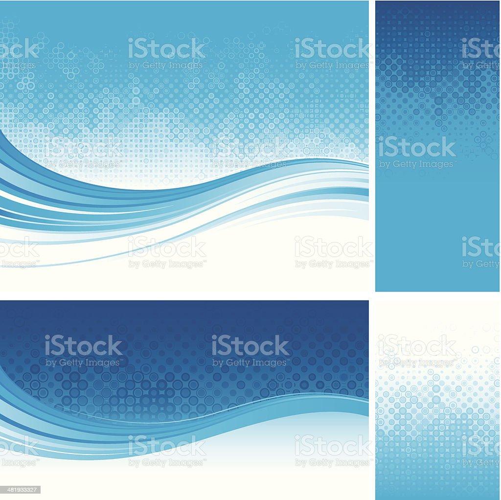 Blue Haltone flow backgrounds vector art illustration