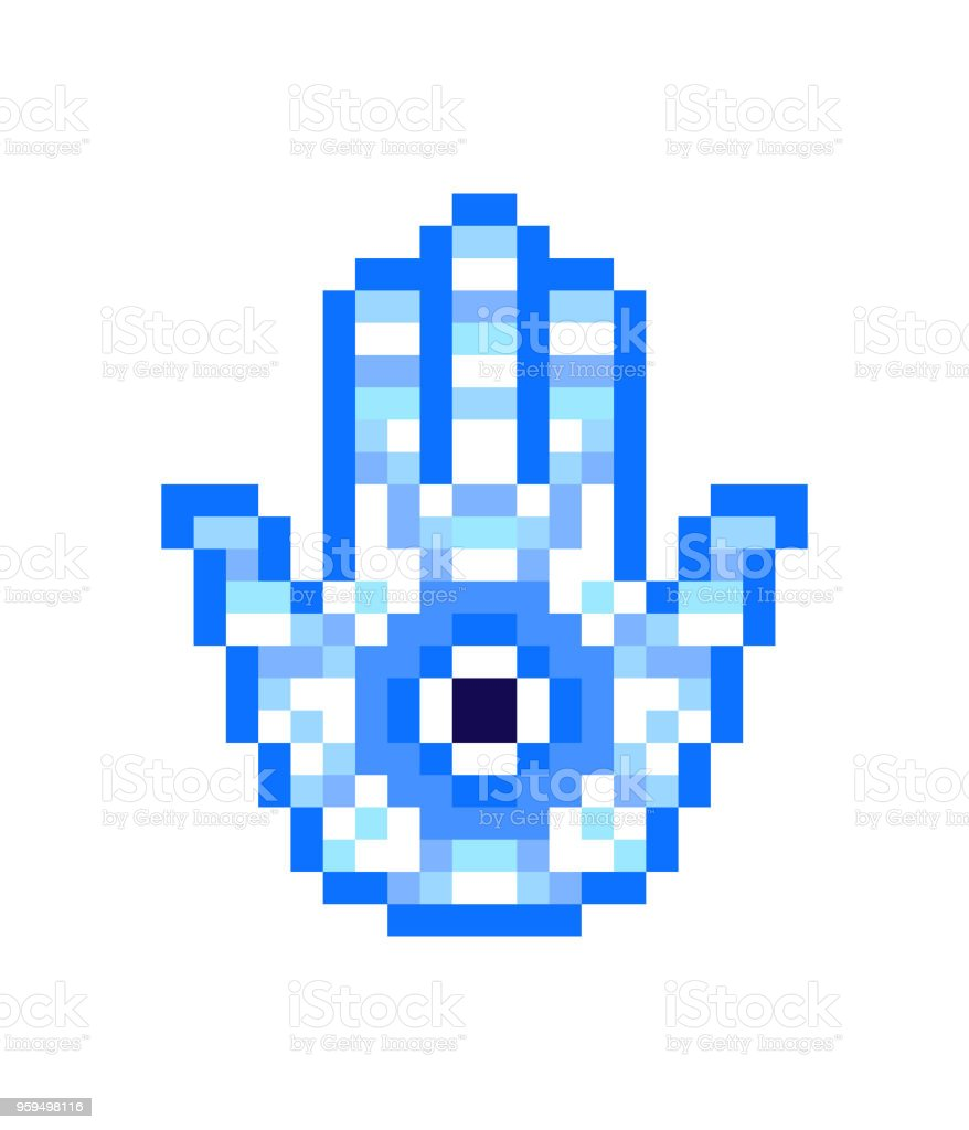 Blue Hamsa Hand With Nazar Pixel Art Icon Isolated On White