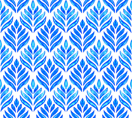 Blue Hand Drawn Stylized Lotus Flower Seamless Pattern with White Background. Pencil Drawing Design Element.