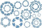 Blue hand drawn wreaths. Decoration frames. Hand drawn borders. Vector illustration.
