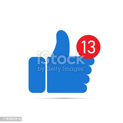 Blue hand on which the red circle with the number 13