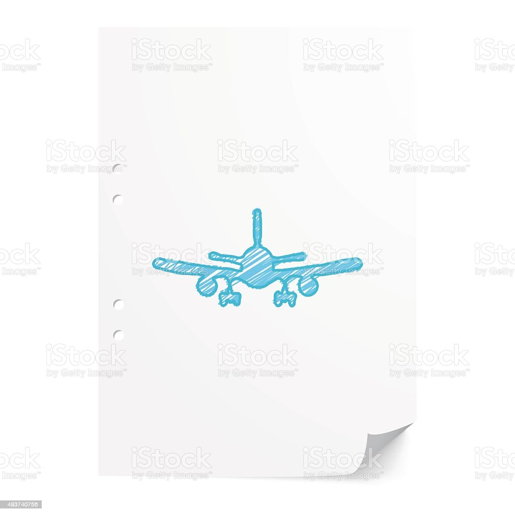 Blue handdrawn Airplane illustration on white paper sheet with c vector art illustration