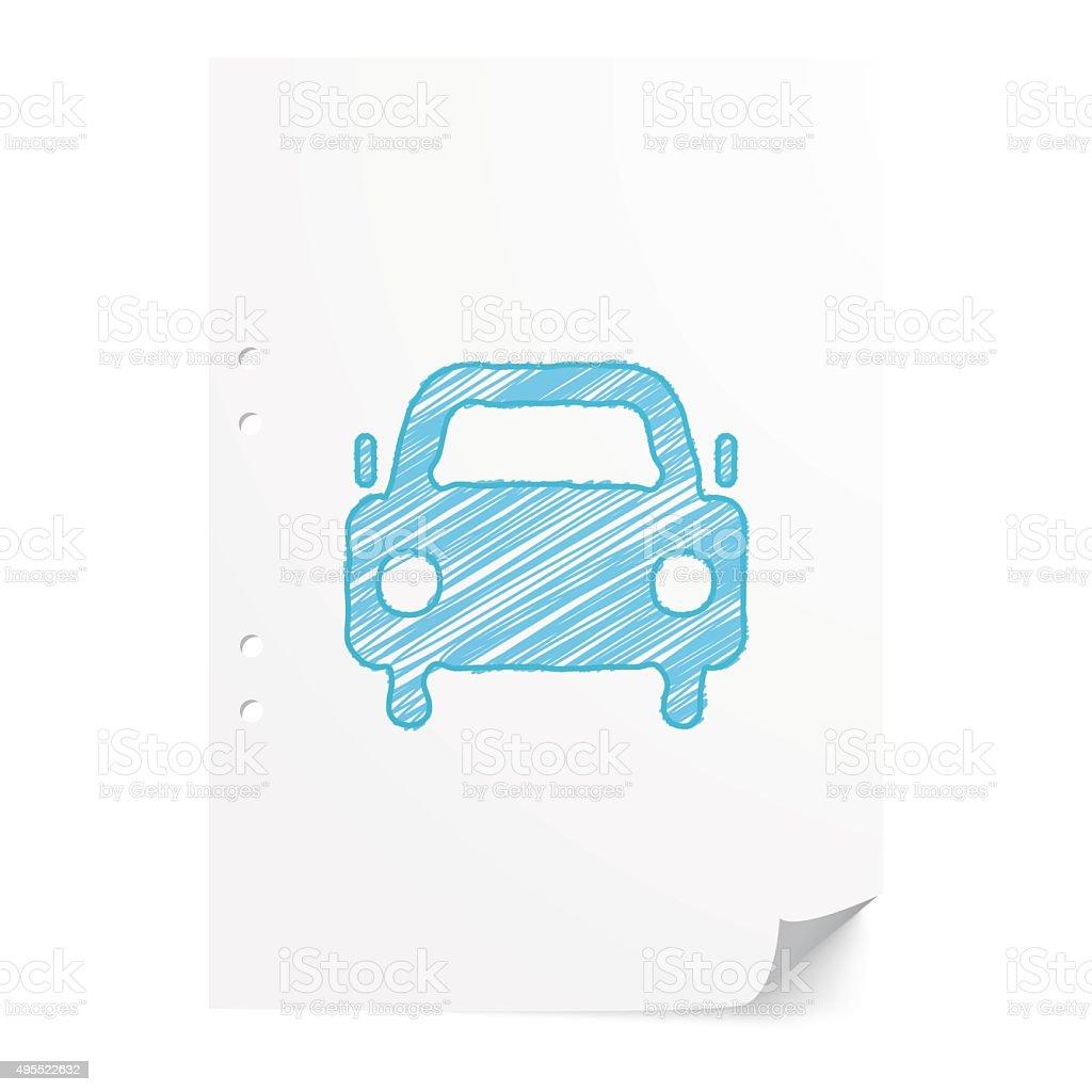 Blue handdrawn Car illustration on white paper sheet vector art illustration