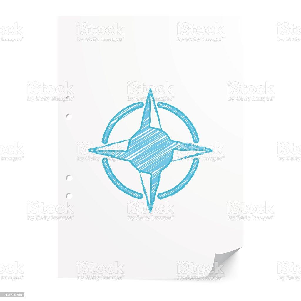 Blue handdrawn Compass Rose illustration on white paper sheet wi vector art illustration