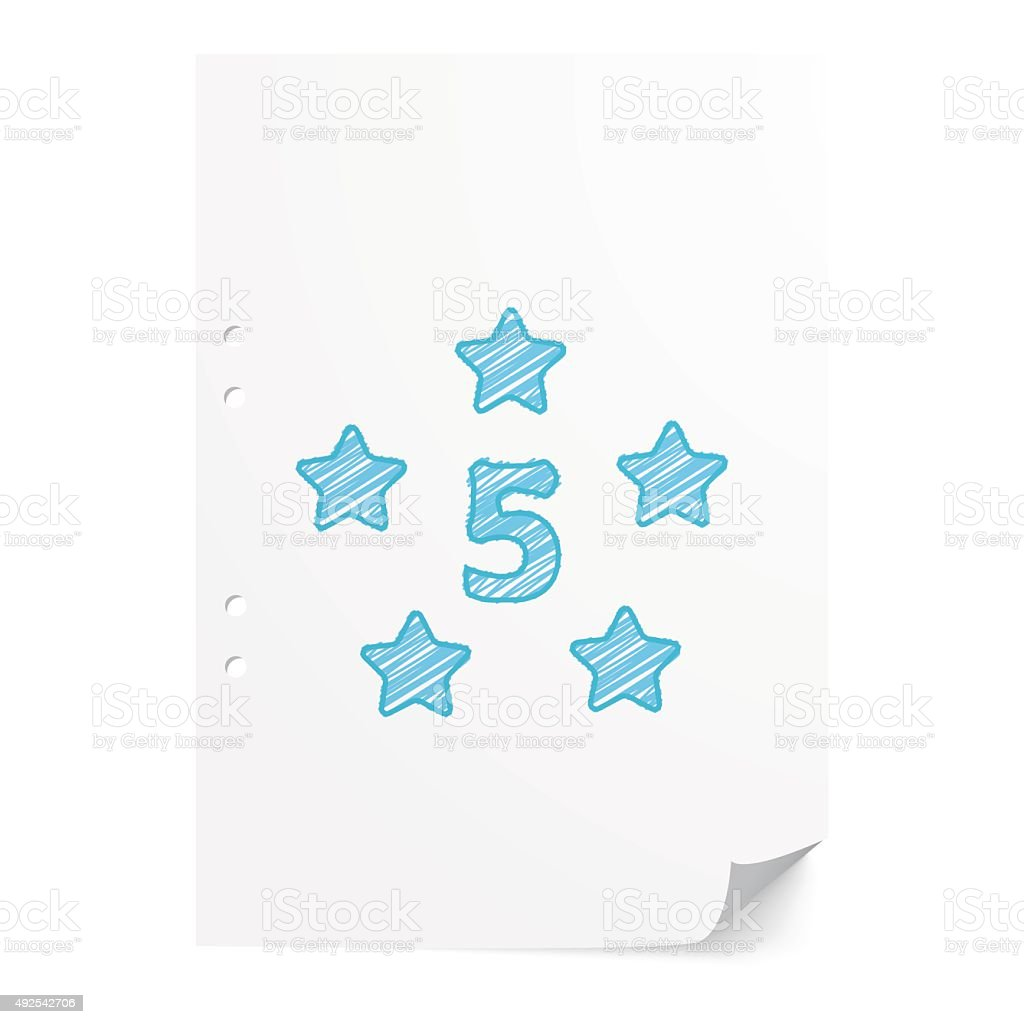 Blue handdrawn Five Star illustration on white paper sheet with vector art illustration