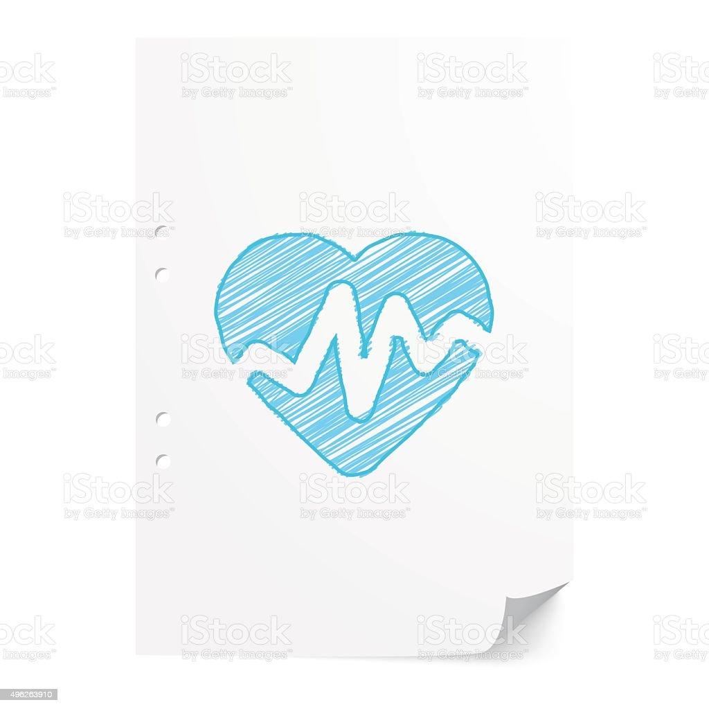 Blue handdrawn Heart Rate Pulse illustration on white paper shee vector art illustration