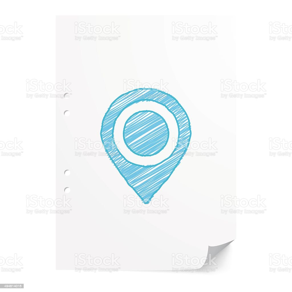 Blue handdrawn Map Pointer illustration on white paper sheet wit vector art illustration
