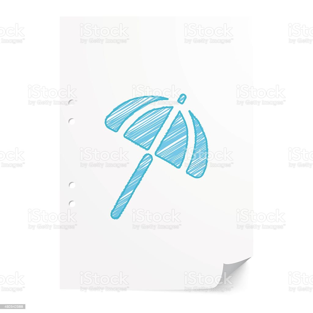 Blue handdrawn Parasol illustration on white paper sheet with co vector art illustration