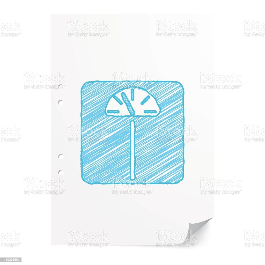 Blue handdrawn Personal Scale illustration on white paper sheet vector art illustration