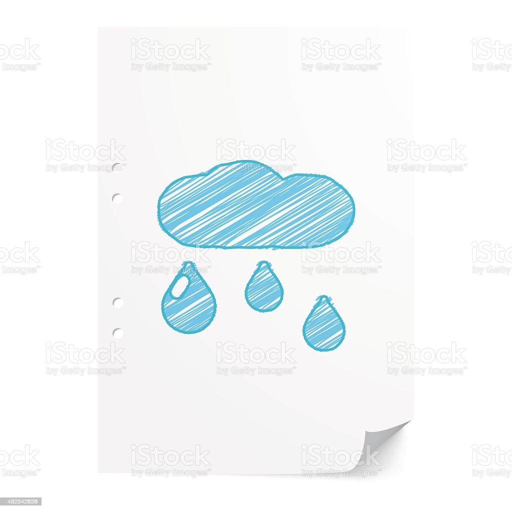 Blue handdrawn Rain illustration on white paper sheet with copy vector art illustration