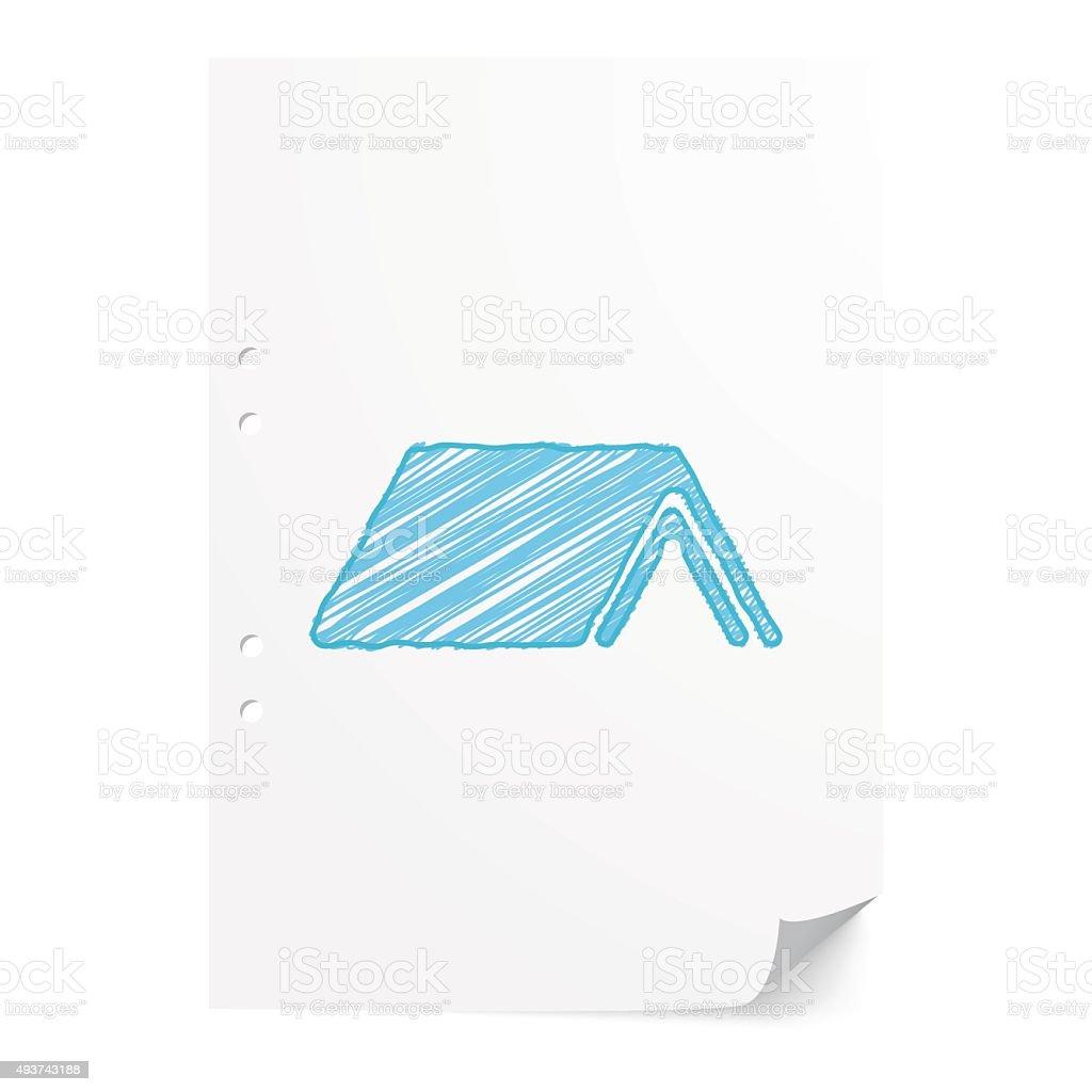 Blue handdrawn Shelter illustration on white paper sheet with co vector art illustration