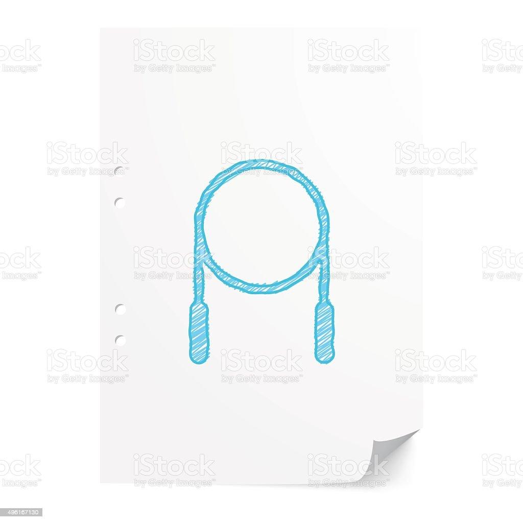 Blue handdrawn Skipping Rope illustration on white paper sheet w vector art illustration