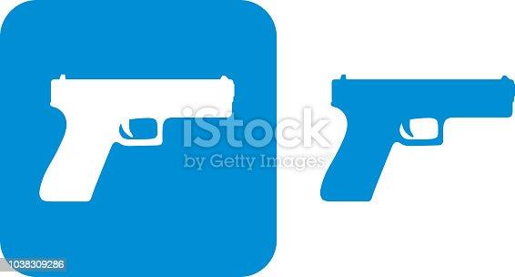Vector illustration of two blue handgun icons.