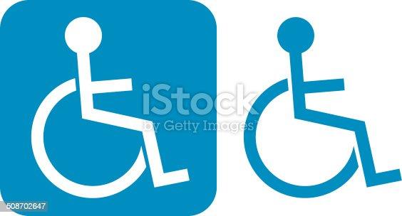 Vector illustration of a blue handicap icon.