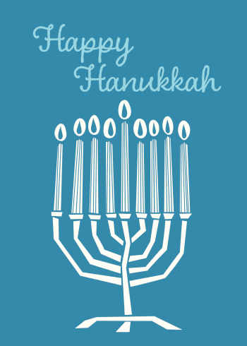 Blue Hanukkah card With Menorah and Candles