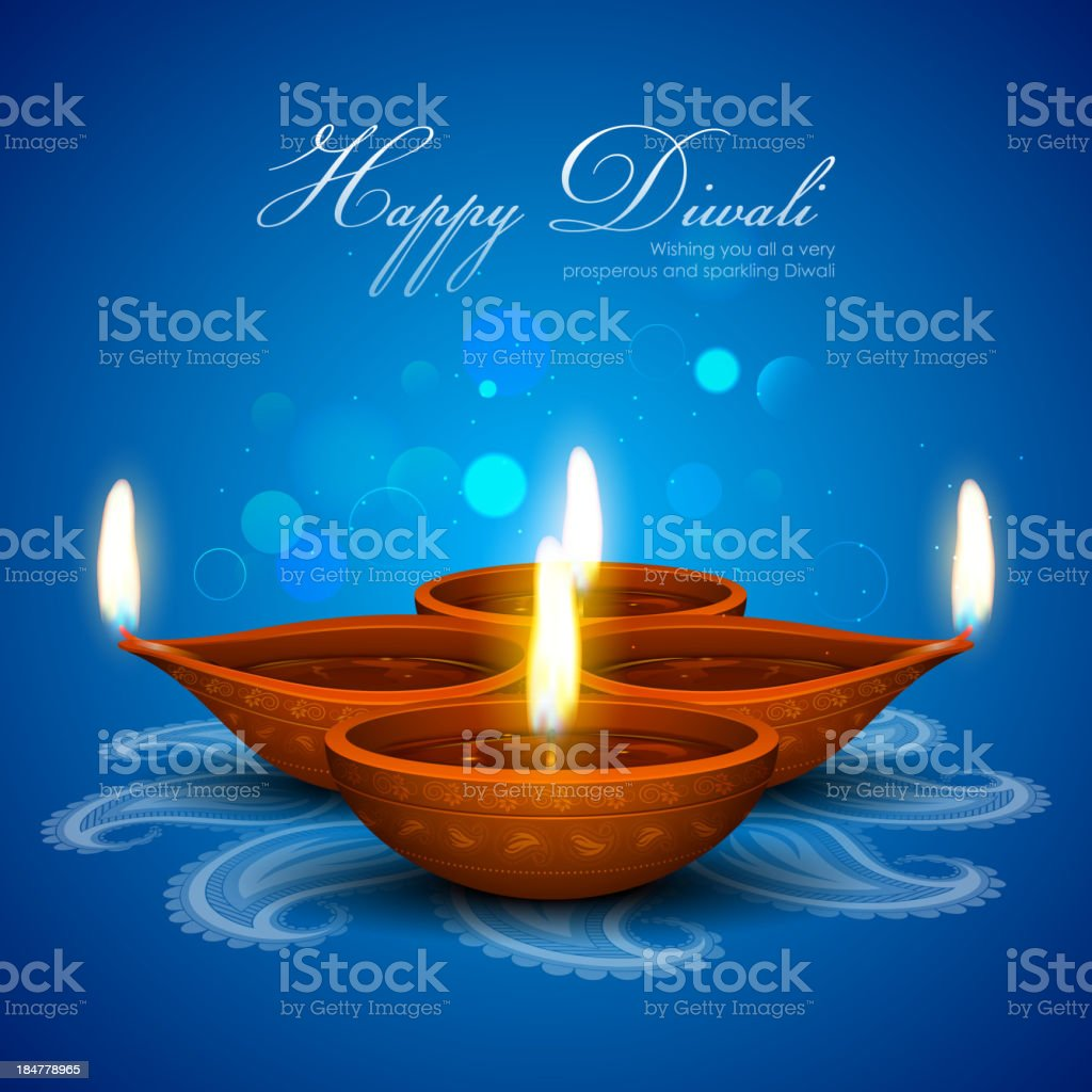 Blue Happy Diwali card containing 4 candles vector art illustration